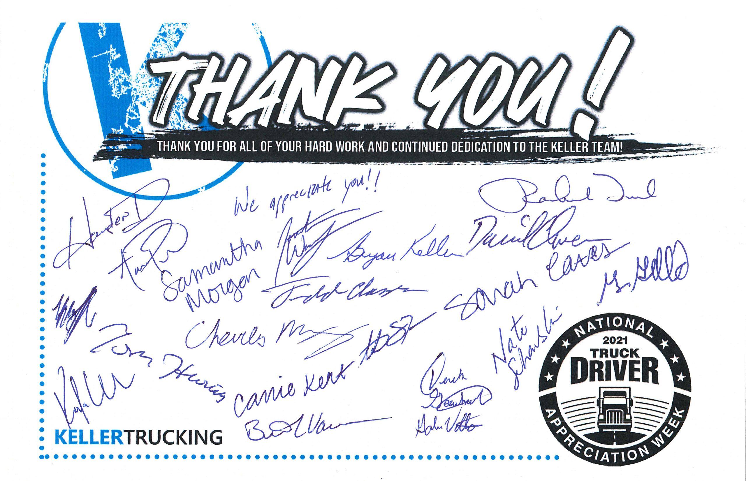 Keller Trucking Thank You Card